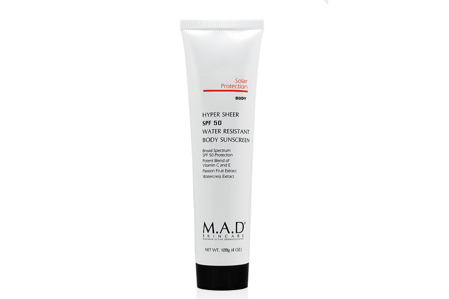 Hyper sheer SPF 50 Water Resistant Body Sunscreen by MAD Skincare