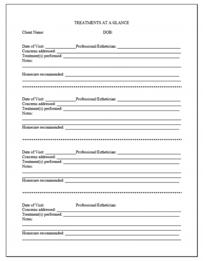 Progressive Treatment Record form