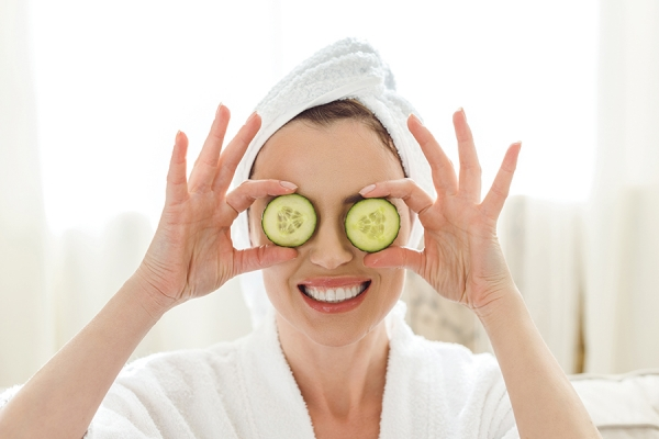 Cucumbers on puffy eyes soothe and reduce swelling.